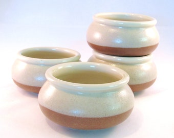Soup Bowl - Small Bowl - Handmade Pottery - Pottersong - Stoneware Bowl - Natural Ivory & Textured Sandy Nutmeg