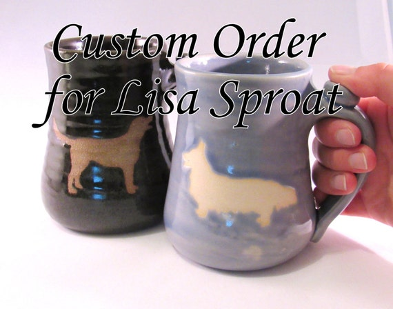 Custom Order For Lisa Sproat  - Corgi and Labrador Mugs - Animal Silhouette  - Dark Walnut Brown - Light Storm Blue - Handmade Pottery