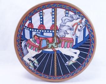 80s Cookie Tin Carousel Horse Vintage