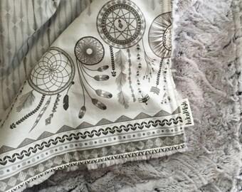 Dreamcatcher Deluxe minky Snuggle Blanket - Grey - pram size minky baby blanket - Perfect Baby Shower Gift!