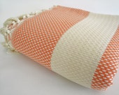 SALE 50 OFF/ Blanket / No1 Coral / Bedcover, Beach blanket, Sofa throw, Traditional, Tablecloth