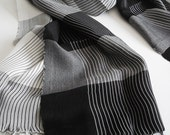 The Best Quality Willow Fibers and Silk Handwoven Scarf  - Black White - Shipping with FedEx