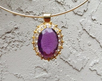 Vintage Amethyst necklace, Amethyst choker, Purple stone necklace, Costume jewelry choker