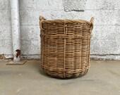 Large Firewood Basket Holder Log Carrier Wood Log Basket Laundry Basket Storage Bin Bucket Vintage French Country Cabin Decor