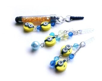 Kawaii Polymer Clay Stylus Pen / Dust Stopper - Inspired by Minions