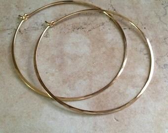 Gold Hoop Earrings, Simple Hammered Hoops, 1.5 inch Gold Hoop