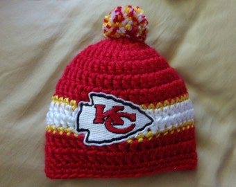 Kansas City Baby hat for Newborn to 18 months- Chief's team colors