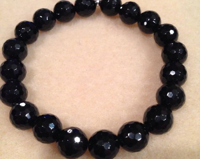 Black Tourmaline Bracelet, Faceted Black Tourmaline, 10mm Stretch Bead Bracelet, Meditation Bracelet, Crystal Healing Bracelet