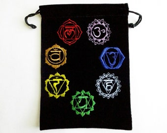 Tarot Bag - tarot pouch, Chakra bag, Chakra symbols, Reiki healing, crystal pouch, rune bag, oracle pouch, oracle bag