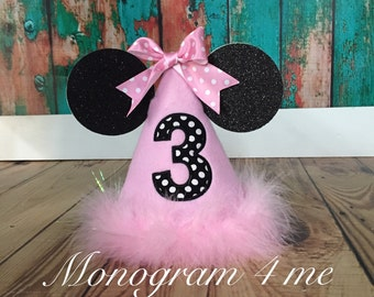 Minnie Mouse Light Pink Birthday Hat, Birthday Cap