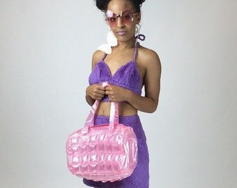 90's Bubble Pop Clear Translucent Blow Up Shoulder Bags in Pastel Blue and Baby Pink