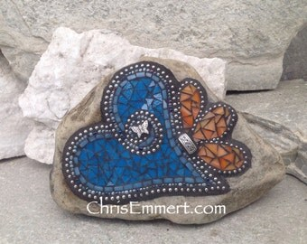 Mosaic Heart, Mosaic Rock, Mosaic Garden Stone, Cornflower Blue,  Garden Rock, Home Decor, Gardener Gift