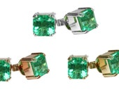 Custom! Colombian Emerald & Gold Stud Earrings Collection