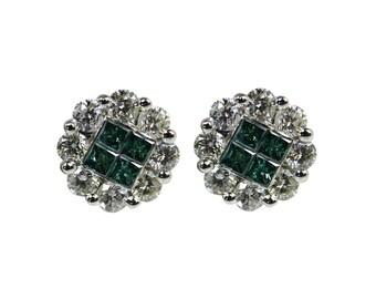 2.40tcw Fancy Vivid Blue Diamond Earrings 14k, Fancy Blue Diamond Princess Cut Studs, Fancy Green Diamond Studs, Diamond Screw Back Earrings