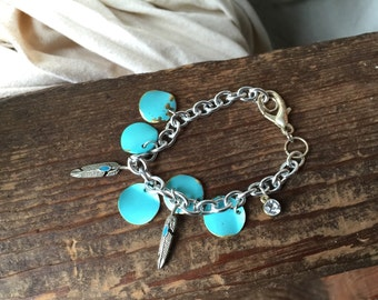 Charm Bracelet - Turquoise and Feathers - READY TO SHIP