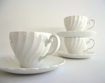 Snowhite Regency White Cups & Saucers | Johnson Bros England Ironstone | Set of 3 Cups and Saucers | White Tablescape Wedding Cottage Chic