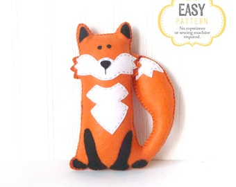 Fox Stuffed Animal Pattern, Felt Hand Sewing Fox Plushie Pattern, Woodland Fox Softie Pattern, Instant Download PDF