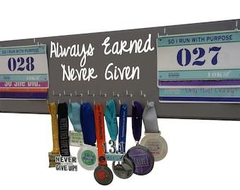 Always earned never given - Running medal holder - race bib holders - medal hanger - medal display