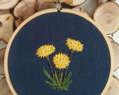 Hand embroidered dandelion; Floral embroidery; Embroidered hoop art; House warming gift; Weeds; Botanical wall art; Save the bees