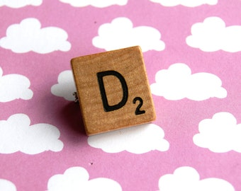 D letter Scrabble Tile Wooden Brooch Pin pingame
