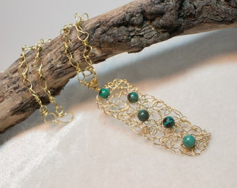 The Tangled Web - A Gold Tone Brass Wire Necklace with Turquoise Rounds Brass Leaf Chain Crocheted Brass Wire Art Necklace