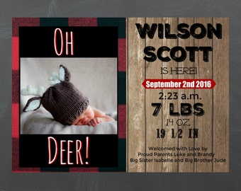 Flannel, Lumberjack, Wood themed Baby Birth Announcement