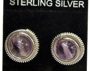 Light Amethyst & Sterling Silver Coiled Stud Post Earrings