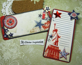 Bo Bunny Liberty Handmade Americana Patriotic Paper Embellishments and Embellished Tags for Scrapbooks Cards Mini Albums and Papercrafting
