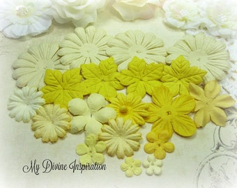 18 Ivory and Yellow Mulberry Paper Flowers, Petals for Scrapbooking Cards Mini Albums Tags and Paper Crafts
