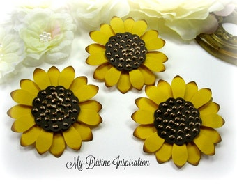 Fall Paper Sunflowers,  Handmade Paper Embellishments, Paper Flowers for Scrapbook Layouts Cards Mini Albums Tags and  Paper Crafting