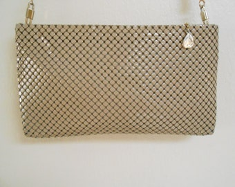 Vintage 1980s WHITING & DAVIS taupe enamel chainmail crossbody bag