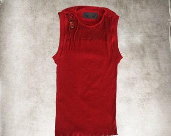 Tank top red/Lace yoke crew/Removable jewel shoulder/Sleeveless knit shirt