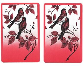SONGBIRD (2) Vintage Single Swap Playing Cards Paper Ephemera Scrapbook
