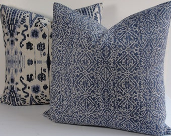 Indigo blue Block Print Ikat small scale pattern globally inspired decorative pillow cover, Designer Lacefield Both Sides navy throw pillow