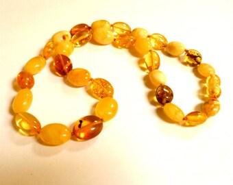 "Baltic Amber Butterscotch Yellow Necklace Natural 18"" 18 gram"