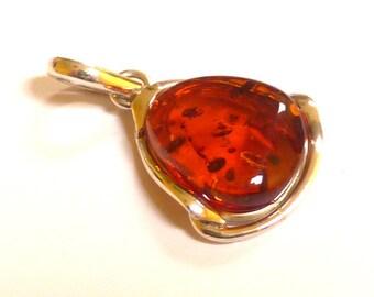 Baltic Amber Pendant Cognac Natural 1.6″ 8.4 gram 925 Silver