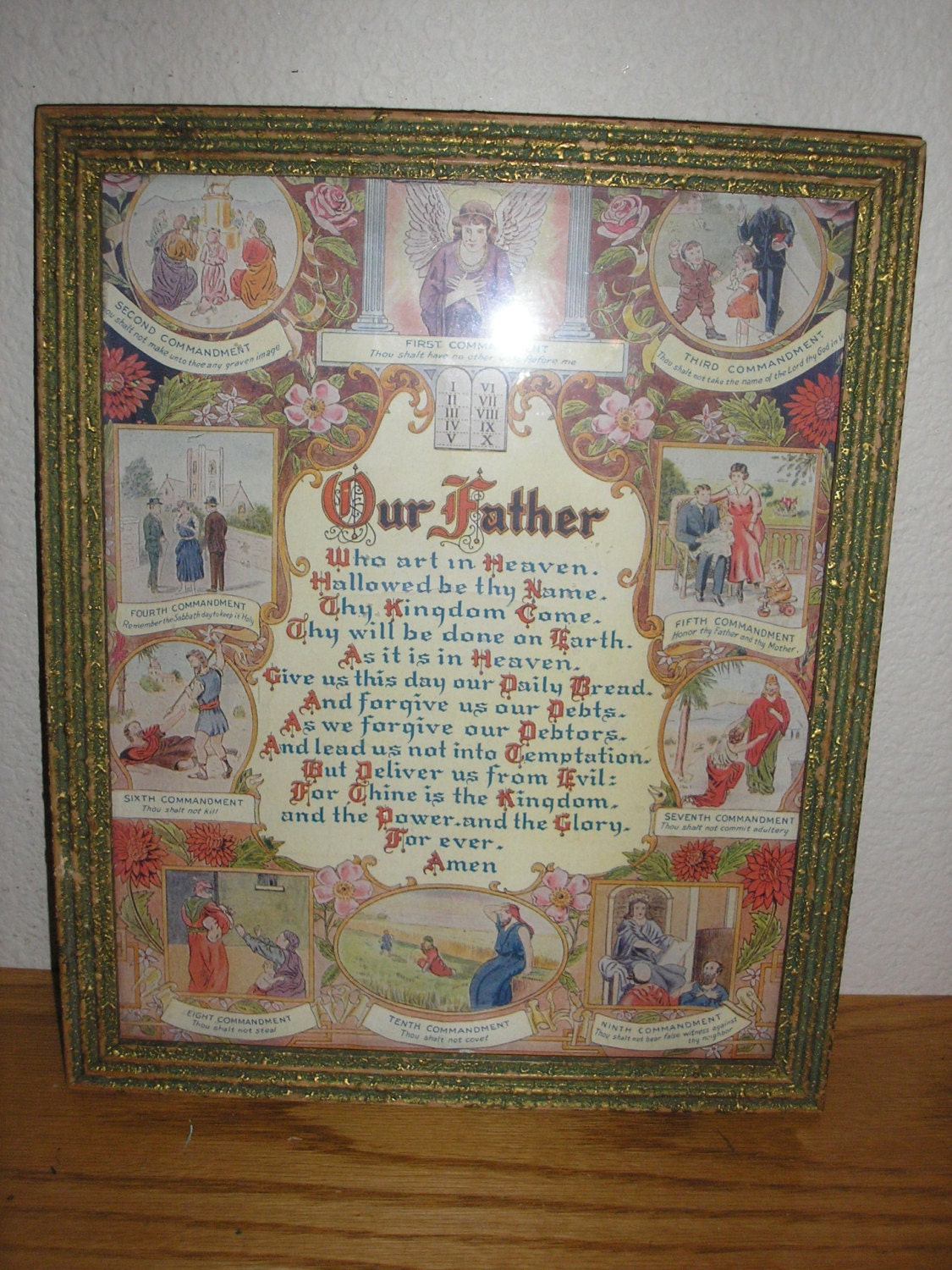 Antiquelithograph Lords Prayer Amp Ten Commandments Framed