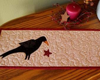 Quilted Table Topper, Quilted Candle Mat, Primitive Crow, Toilet Tank Topper