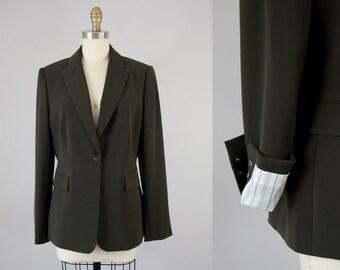 1990s Vintage Calvin Klein Deep Olive Blazer. 90s Suit Jacket (S, size 6)