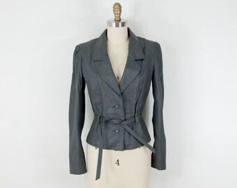 1980s Vintage Grey Leather Blazer Jacket (XS, S)