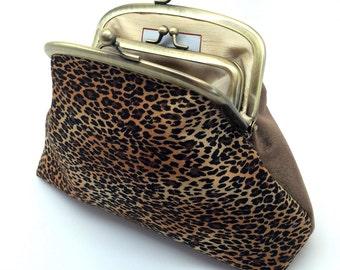 Leopard Print Kiss Lock Clutch Coin Purse Wallet Velvet Gift Chocolate Brown Orange Gold Silk Double Metal Frame