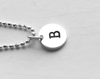 Initial Necklace, Sterling Silver, Personalized Jewelry, All Letters Available, Letter B Necklace, Hand Stamped Jewelry, Initial Charm