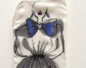 """Hand painted silk Phone/sunglasses case  """"Royal Blue ribben""""- Free shipping to UK"""
