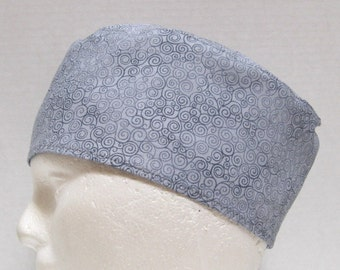 Mens Scrub Hat, Surgical Cap or Skull Cap Gray with  Gray Swirls