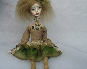 Reserved Catherine Art doll OOAK doll Human figure doll Collecting doll Art clay doll Hand made doll