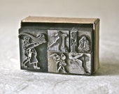 Vintage Letterpress Dingbats or Ornaments Featuring People for Decor Stamping or Printing
