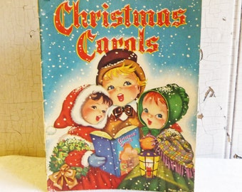 Vintage Christmas Carols Book - Whitman Publishing - Illustrated by Alice Schlesinger - Children and Angels - Mid-Century 1940s - Dated 1942