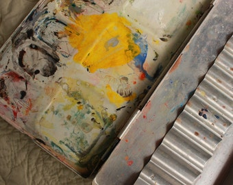 Vintage Paint Palette Tin Collage Base