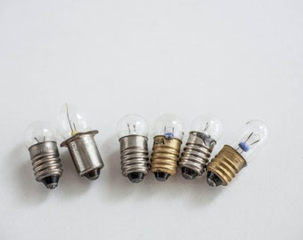 6 Tiny Round Light Bulbs Jewelry Found Object Mixed Media Steampunk Industrial Assemblage Supply