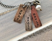 Personalized Mixed Metals Tag Charm Mothers Necklace